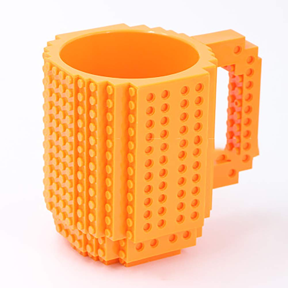 JER DIY Errichten auf Ziegelstein Becher Lego Art Kaffeetasse Kunststoff kreativen Bausteine ??lustigen Geschenk |orange Haushaltsgegenstände