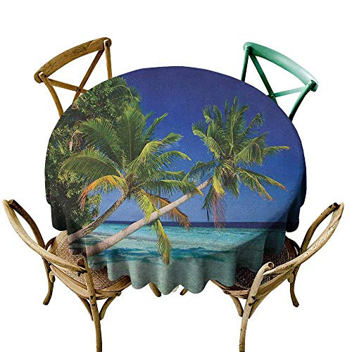 (Sunnyhome Waterproof Table Cover Ocean Maldives Bay Paradise Resort Summer in Pacific Holiday Destinations Navy Blue Turquoise Green for Events Party Restaurant Dining Table Cover 55 INCH)