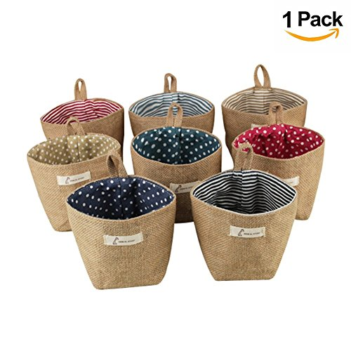 Fellibay Storage Basket Collapsible Linen Storage Bag Wall Hanging Basket Home Organizer Bin Decor Bag for Toy Door Keys Small Stuff(Pattern Randomly Sent) (Hanging Basket Wall)