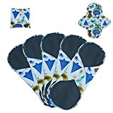 Babyfriend Bamboo-charcoal Reusable Sanitary Pads ,Washable Sanitary Nipkins for Women(5 Pack),Size:S,M,L