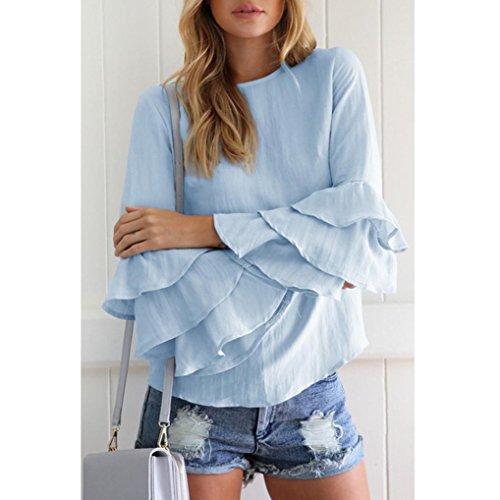 manches Manches Longues Bleu T Brodé décontracté Cou Blouse Femmes Blouse Tops shirt longues Amlaiworld rond q14q8wg