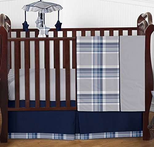 - Rustic Designer Navy Blue and Gray Boys Plaid Baby Bedding 4 Piece Crib Set Without Bumper