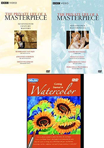 Works Painters and Their Art 3 DVD Artist series Masters BBC Private Life Masterpiece Renaissance Leonardo Da Vinci / Botticelli / 17th Century Vermeer / Rembrant + Paint Watercolor Instructional