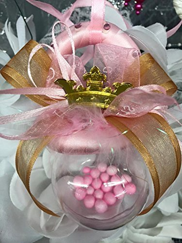 Baby Shower Pink and Gold Princess Baby Pacifier Rattle Decoration Gift]()