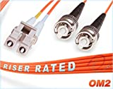 2M OM2 LC ST Fiber Patch Cable | Duplex 50/125 LC to ST Multimode Jumper 2 Meter (6.56ft) | Length Options: 0.5M-300M | FiberCablesDirect | lc-st mmf optic patch-cord st/lc zip-cord orange dx ofnr
