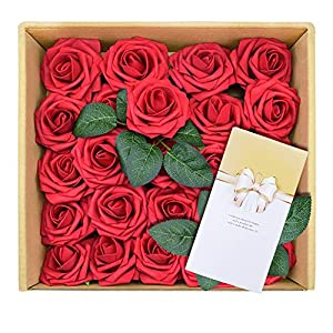 Red Artificial Flowers with Greeting Card Fake Foam Roses for Wedding Bridesmaids Rose Bouquets DIY Floral Home Decoration in Baby Shower Birthday Party, 25pcs 93