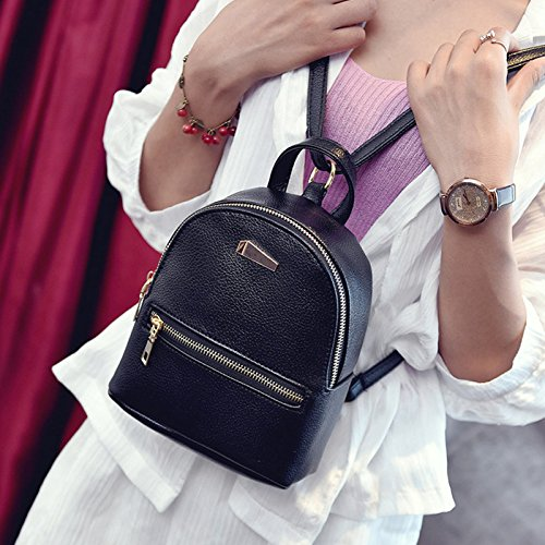 Black Leather Girls Travel PU Backpacks Fashion Women Shopping Mini Teenager Outdoor Backpack Hrph 4B7Unq1q