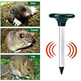Solar Repeller with Light, Sonic Mole Deterrent Pest Rodent Repellent, for Yard Lawn