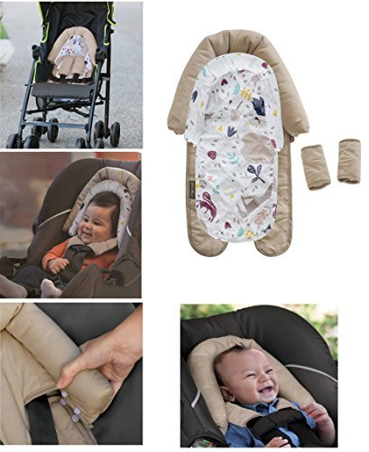Eddie Bauer - Duo Head Support & Strap Covers (Tan) - 2-in-1 Head Support Grows with Baby