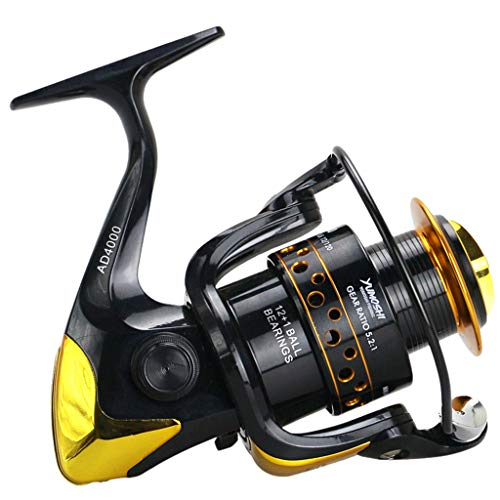 (Glumes Spinning Fishing Reel, 12 Ball Bearings Light and Smooth, 2000 to 9000 Series,Left/Right Interchangeable Spinning Reels Saltwater Freshwater Fishing 3 Speed Ratios)