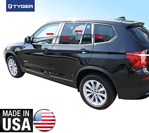 Works with 2011-2015 BMW X-3 8PC Stainless Steel Chrome Pillar Post Trim MAXMATE Made in USA