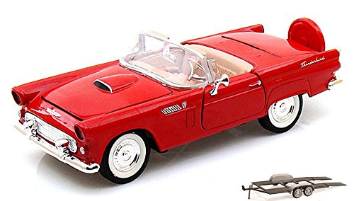 Diecast Car & Trailer Package - 1956 Ford Thunderbird Convertible, Red - Motormax 73215 - 1/24 scale Diecast Model Toy Car w/Trailer -  ModelToyCars, 73215-MMT-RED-76001-BDL