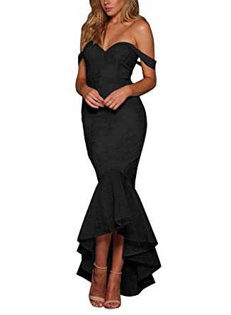 Azokoe Cocktail Dresses 2018 Sexy Off Shoulder Flouncing Mermaid Formal Prom Gowns Evening Party Wedding Guest