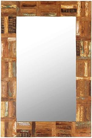 FESTNIGHT Specchio da Parete Rettangoalre//Quadrato Verticale in Legno di Teak Recuperato,Specchio a Muro Rettangoalre//Quadrato Verticale in Legno di Teak Recuperato 50 x 50 cm