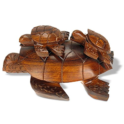 (Sunland Artisans 5in Long Sea Turtle with Babies Ironwood Carving - Seashore Decor)