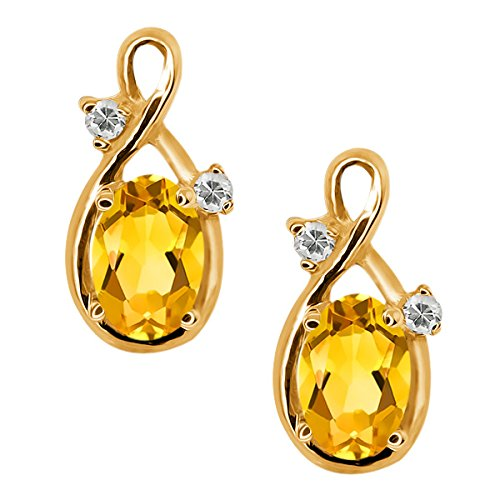 0.88 Ct Oval Yellow Citrine and White Topaz 14k Yellow Gold Earrings