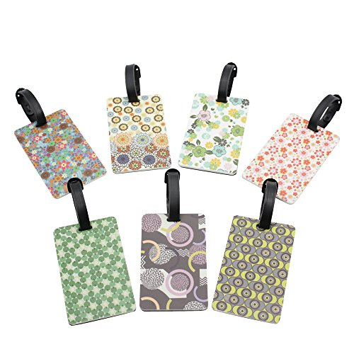 Mziart Set of 7 Flower Floral Luggage Tags for Kids Women Gi