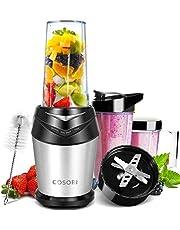 Cosori Blender Smoothie 1000 Watt avec 6 Lames, Mixeur Blender Puissance pour Fruits et Légumes, 3 Bouteilles Portables sans BPA (2x700 ml /1x350 ml), Brosse de Nettoyage et Livre de Recette Fournis