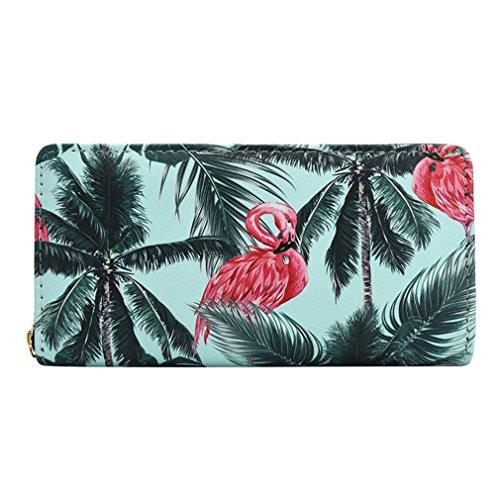 Mode Portefeuilles Dames Floral Carte Bourse Embrayage Flamingo Capacité En Sac la Titulaire Femmes Cuir PU Grande Longue de Sky Blue Téléphone Print Haoling EqRZwIE
