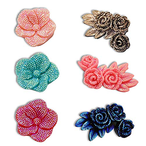 6Pcs DIY Mixed Shiny Resin Flowers Embellishments with Reflective Glitter Powder, Flat Back Cabochons Cameo for Jewelry Making Findings,Gift Box, Phone Case, Hydrangea Rings Decorative