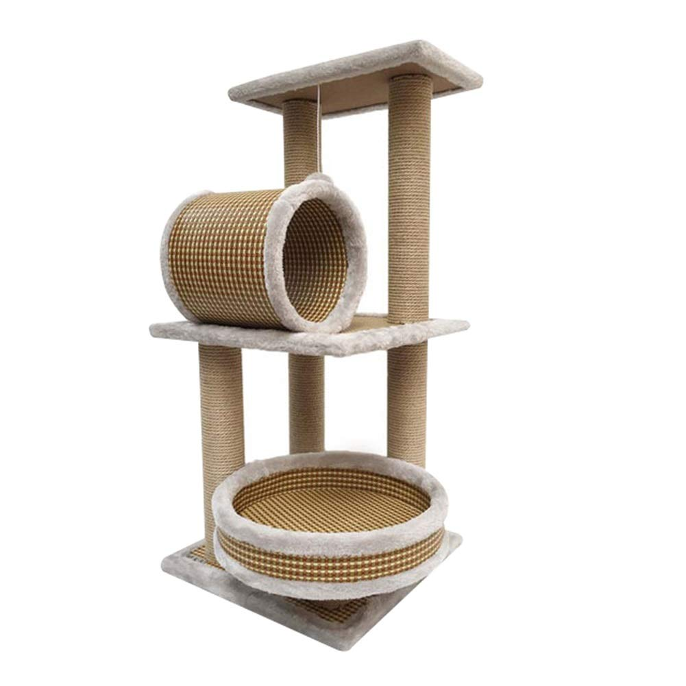 Browna 40X40X85CMSHIJINHAOCat tree Activity Tower Climbing Frame Stable Sisal Small 3 Layers Detachable Exchange Pet Furniture, 2 colors (color   BrownA, Size   40X40X85CM)