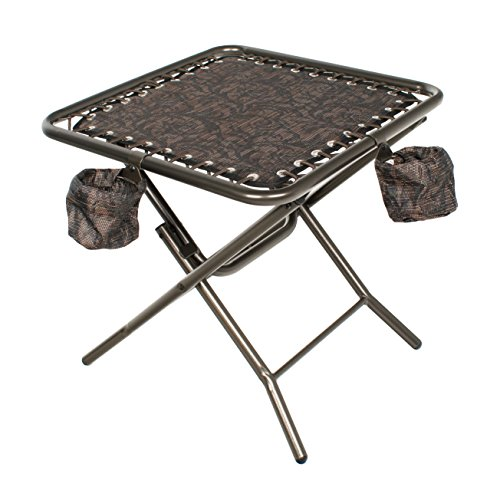 Bliss Hammocks GFC-TBL-J Foldable Patio Table, Brown Jacquard (With Swing Canopy Cup Holders)