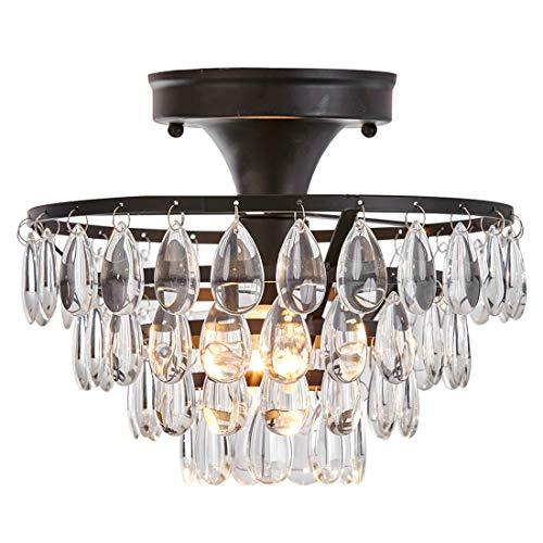 "Antique Black Chandelier Flush Mount Light Fixture Ceiling Crystal Light,D10"" Ceiling Light for Living Room Bedroom ()"