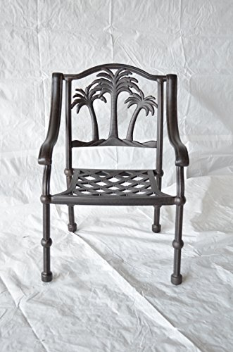 Palm Tree Outdoor Patio Dining Chair Dark Bronze Cast Aluminum Set of 4
