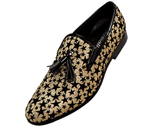 Amali Men's Loafer Dress Shoe Metallic Glitter Star Patterned Slip-On's with Black Tassel, Style Starry ()