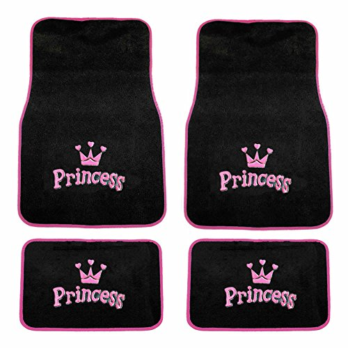 Rear Carpet Set (4pc Princess Crown Black Pink Front Rear Carpet Floor Mats Set New Universal)