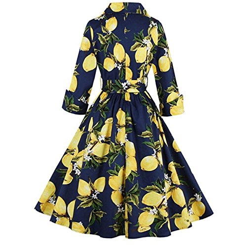 YUMiiiooo Graceful Vintage 1950's Flora Lemon Print Party Cocktail Dress with 3/4 Sleeve Dark (Quirky Fancy Dress Ideas)
