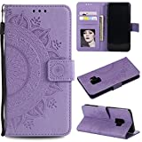 Galaxy S9 Plus (S9 +) Floral Protective Wallet Case,Galaxy S9 Plus (S9 +) Strap Flip Case,Leecase Pretty Elegant Embossed Totem Flower Design Pu Leather Bookstyle Magnetic Card Slots Wrist Strap Rose Gold Soft Inner Stand Flip Skin Case Cover Book Style With Lanyard Strap for Samsung Galaxy S9 Plus (S9 +) + 1 x Free Black Stylus-Purple