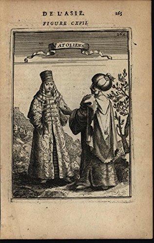 Anatolians Turkey Costumes Elaborate Robes Hats 1683 antique engraved print -