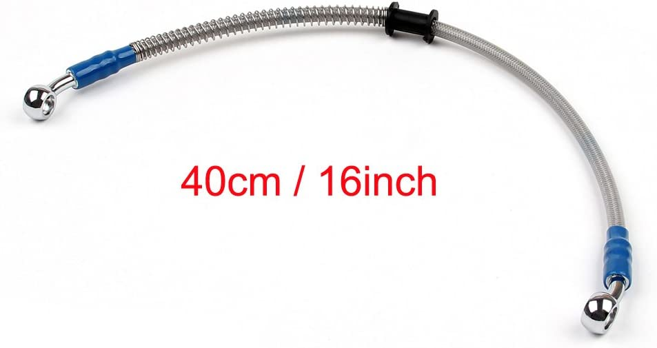 Areyourshop 40cm//16 M10 Brake Oil Hose Line Banjo Fitting Stainless Steel End