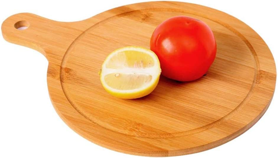 Bandeja redonda de madera para pádel para pizza, tabla para cortar fruta, tabla adhesiva, tabla para cortar bambú, tabla para picar-1