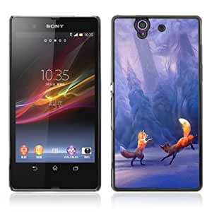 Designer Depo Hard Protection Case for Sony Xperia Z L36H / Winter Fox Playing Mystical Forrest