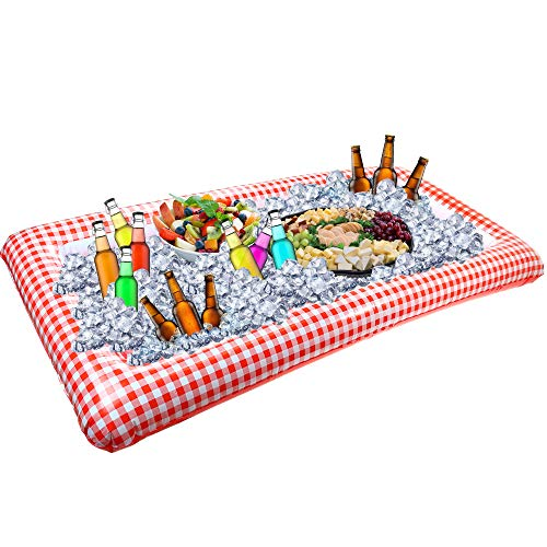 Outdoor Inflatable Buffet Cooler Server - Red and White Blow Up Cooling Tub For Serving Buffet Style Picnic]()
