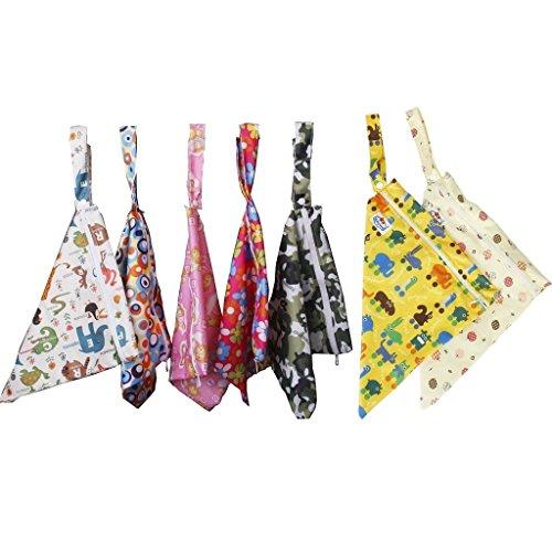 paaiter bebé impermeable Zipper Bolsa lavable reutilizable gamuza de bebé bolsa de pañales/de flores y animales patrón beige
