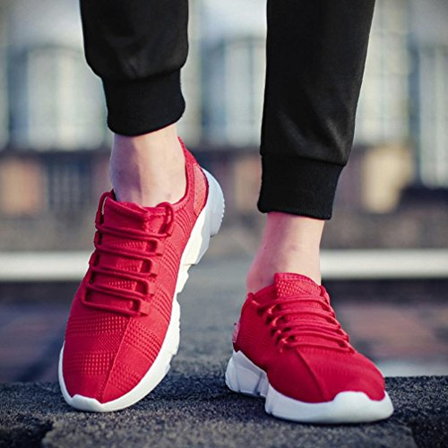 Hunputa Mens Fashion Beathable Mesh Chaussures Casual Baskets Lacets Sport Course Chaussures De Voyage Rouge