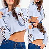 Hoodie Sweatshirts for Women Pullover,Women Ladies Appliques Casual T-Shirt Long Sleevel Tops Blouse XL,Stuffed Animals & Plush Toys > Plush Puppets,Blue,XL