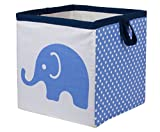 Bacati Elephants Storage Tote Basket, Blue/Grey, Small