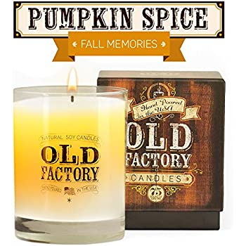 Scented Candles - Pumpkin Spice - Decorative Aromatherapy - 11-Ounce Soy Candle - from Old Factory Candles