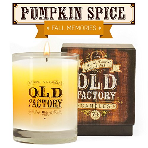 Scented Candles - Pumpkin Spice - Decorative Aromatherapy - 11-Ounce Soy Candle - from Old Factory Candles (Pillar Ginger Candle Green)