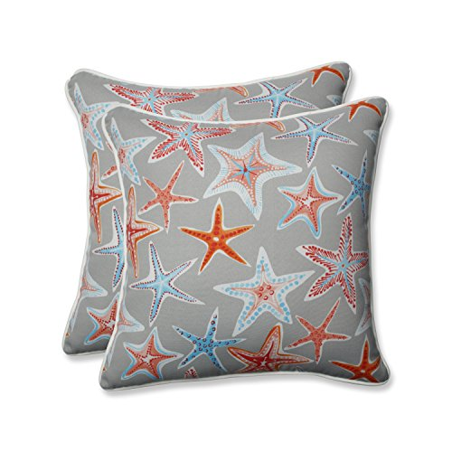 (Pillow Perfect Outdoor | Indoor Stars Collide Pewter 18.5-inch Throw Pillow (Set o 2 Piece)