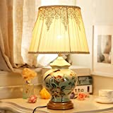 table lamp Hand-painted flowers and birds table lamp bedroom bedside lamp study decoration retro nostalgic ceramic lamp A+