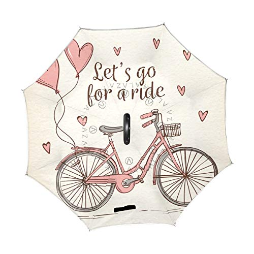 2786a9a422cb Jojogood Hand Drawn Bike Inverted Umbrella Reverse Auto Open Double Layer  Windproof UV Protection Upside Down Umbrella for Car Rain Outdoor Use