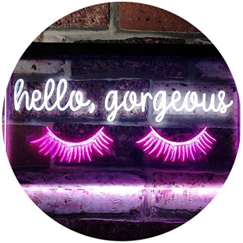 (ADVPRO Hello Gorgeous Eyelash Room Display Dual Color LED Neon Sign White & Purple 16
