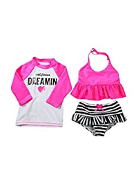 DQdq Little Girls' 3 Piece Rashguard Swimsuit Set