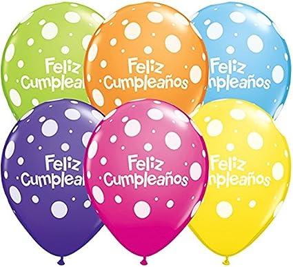 Amazon.com: Qualatex Feliz Cumpleanos Big Polka Dots ...