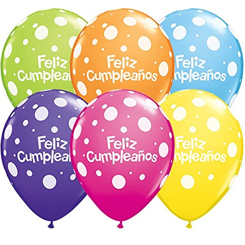Amazon.com: Qualatex Feliz Cumpleanos Big Polka Dots ...
